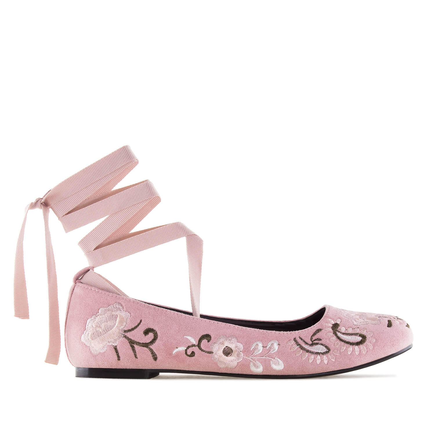 Embroidered Pink Suede Ankle-Tie Ballerinas