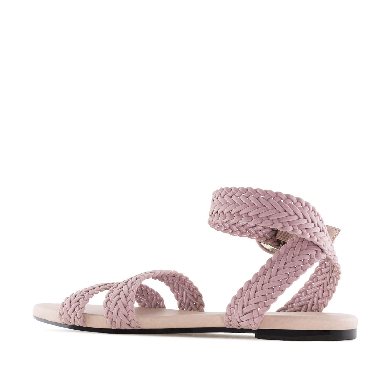 Ravne pletene sandale, svetlo roze
