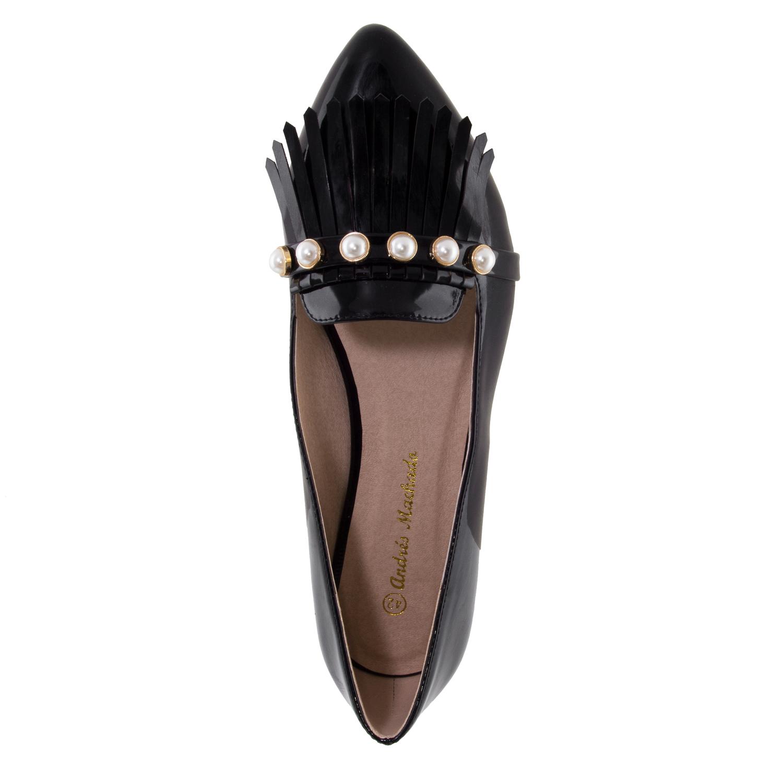 Bailarina Charol Negro Perlas