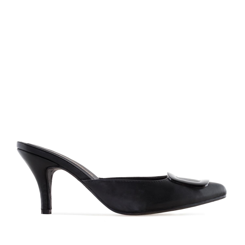 Elegantní pantofle na podpatku. Černé.