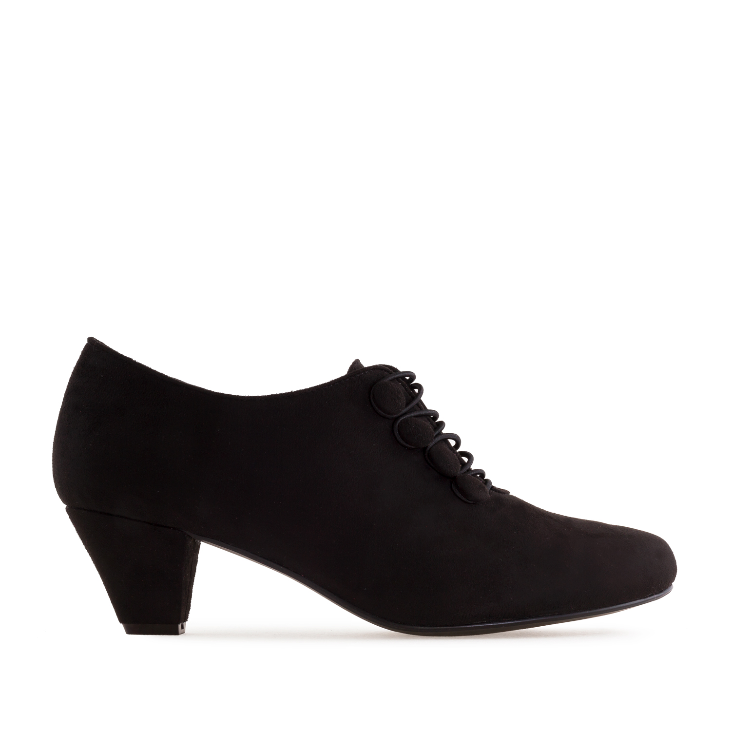Button-Up Shoes in Black Suede