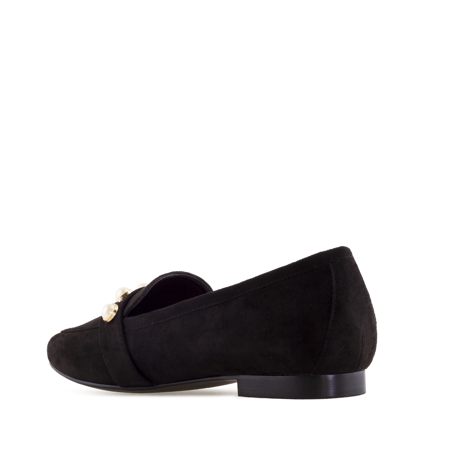 Pearl Slipper Shoes in Black Suede