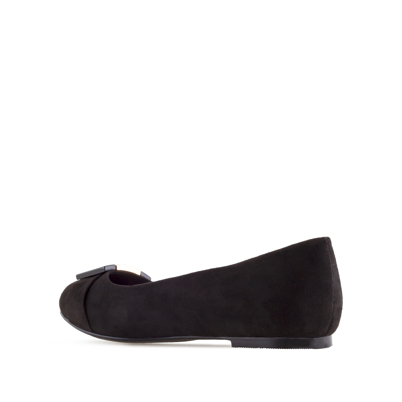 Buckled Ballet Flats in Black Suede