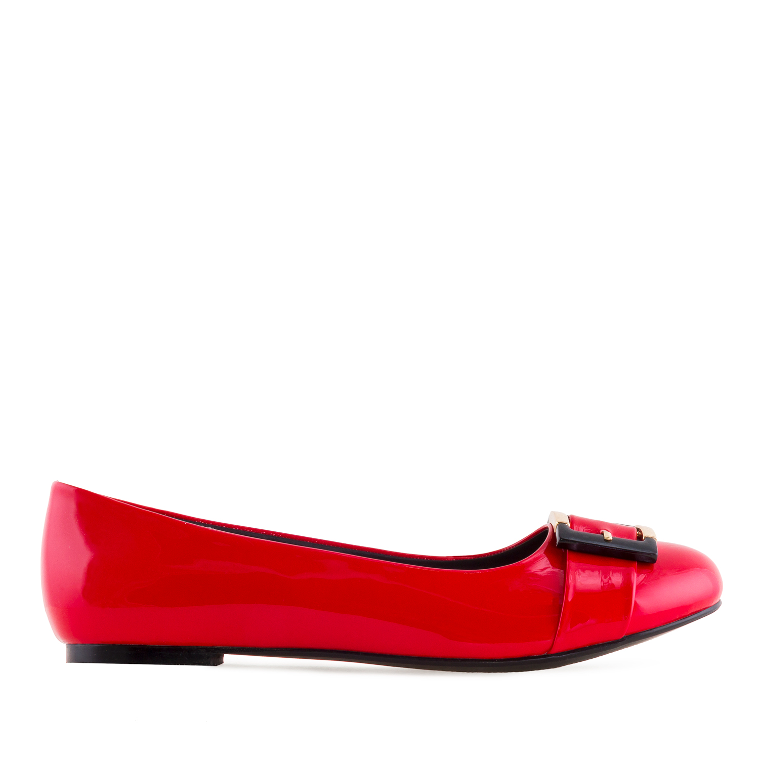 Buckled Ballet Flats in Red Patent