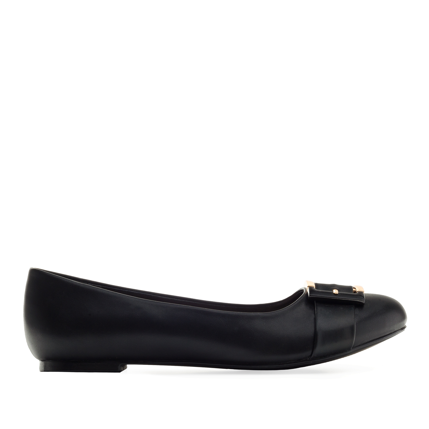 Buckled Ballet Flats in Black faux Leather