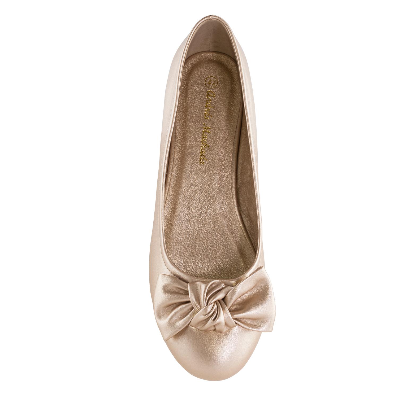 Jednoduché baleríny s velkou mašlí. Zlaté.