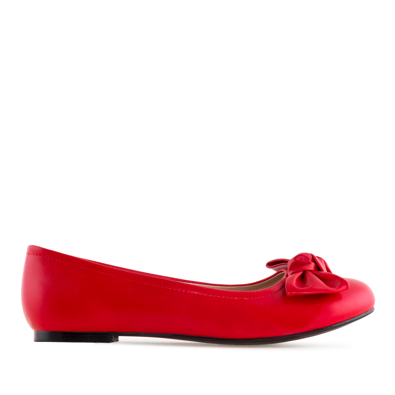Bow Ballet Flats in Red faux Leather