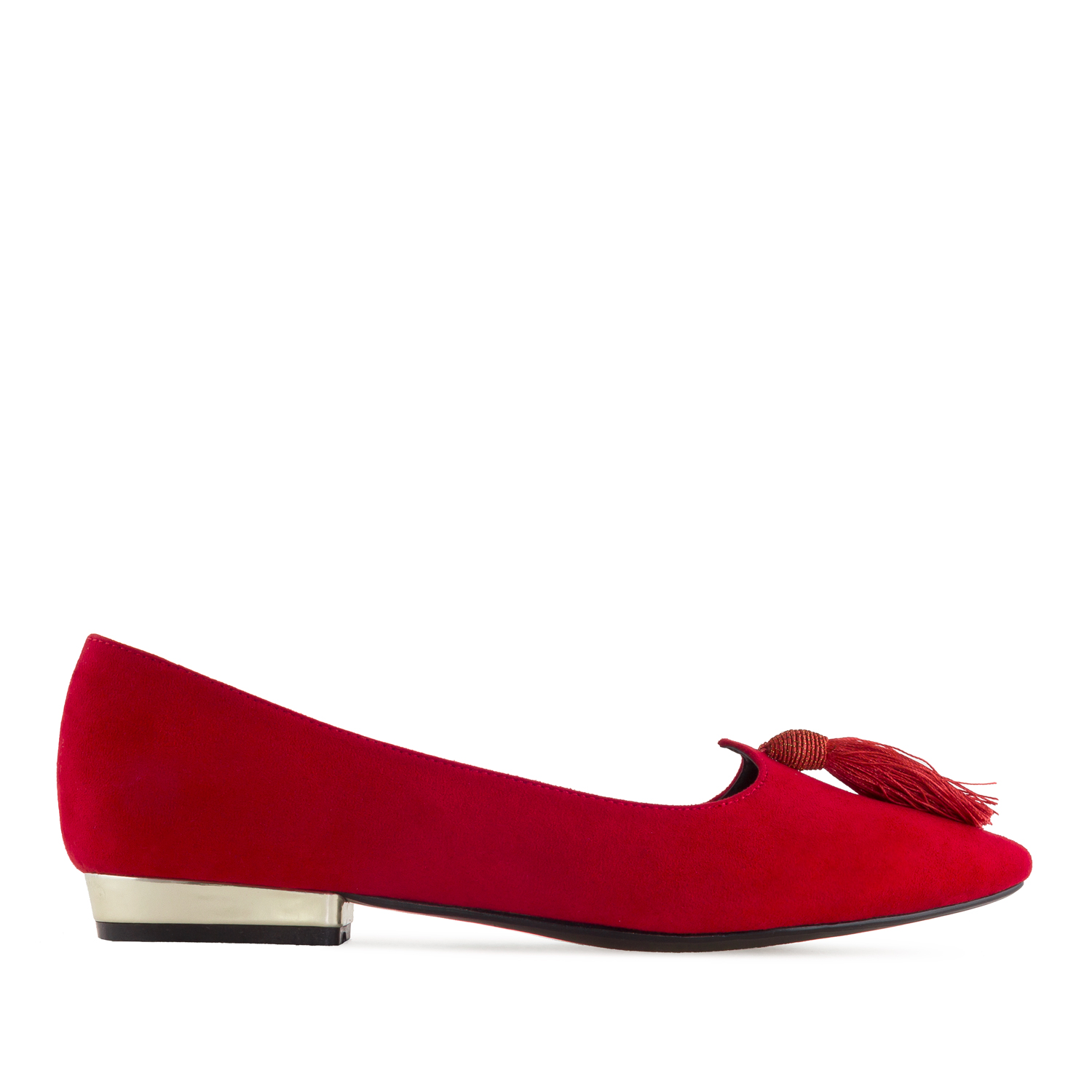 Tassle Ballet Flats in Red Suede