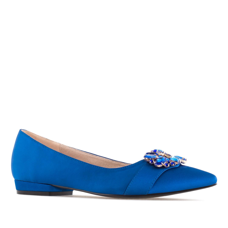 Loafer in Satin-Blau mit Schmuckstein-Besatz