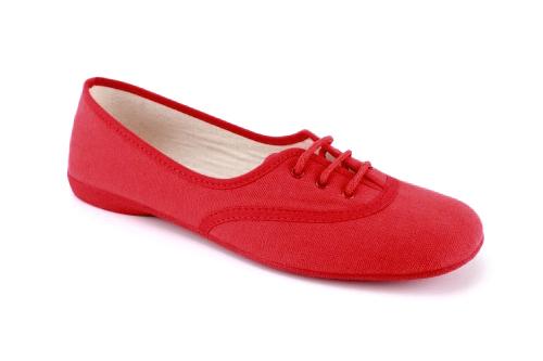 Bailarina de Lona Rojo con cordones.