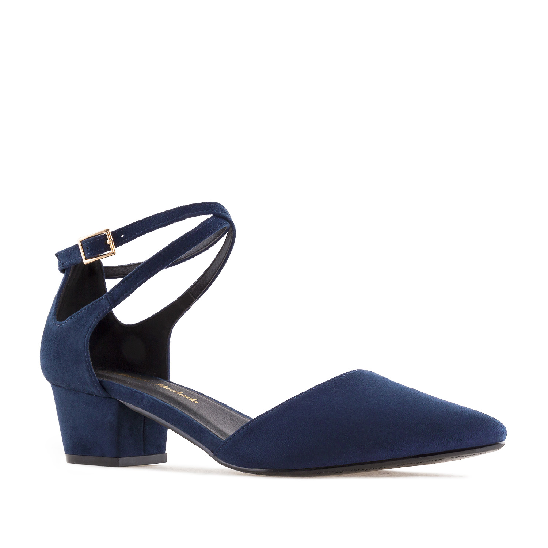 Dámská semišová obuv na podpatku. Modrá.