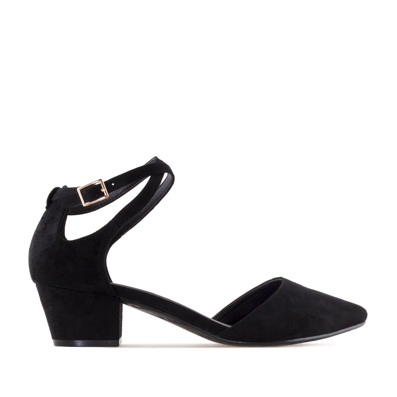 Open Side Shoes in Black Suede