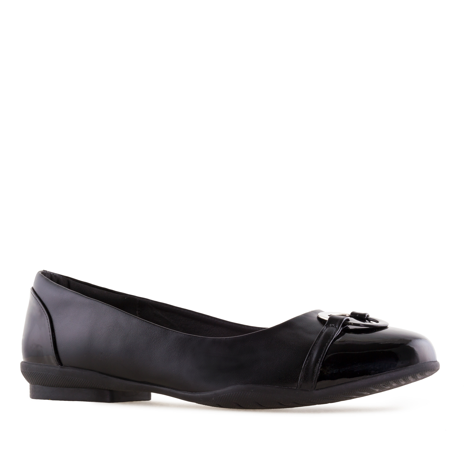 Flats in Black faux Leather