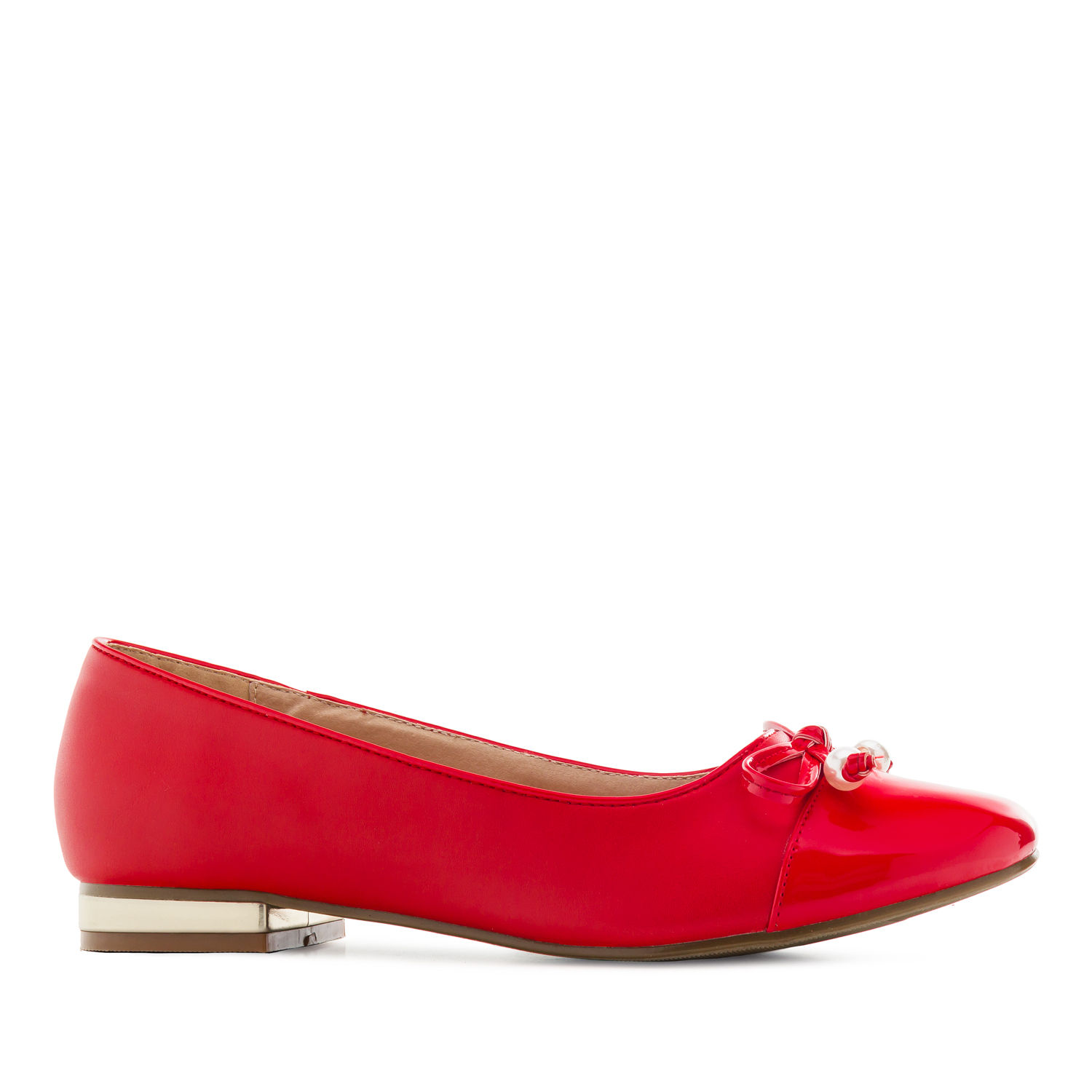 Toe-Cap Ballerinas in Red faux Leather