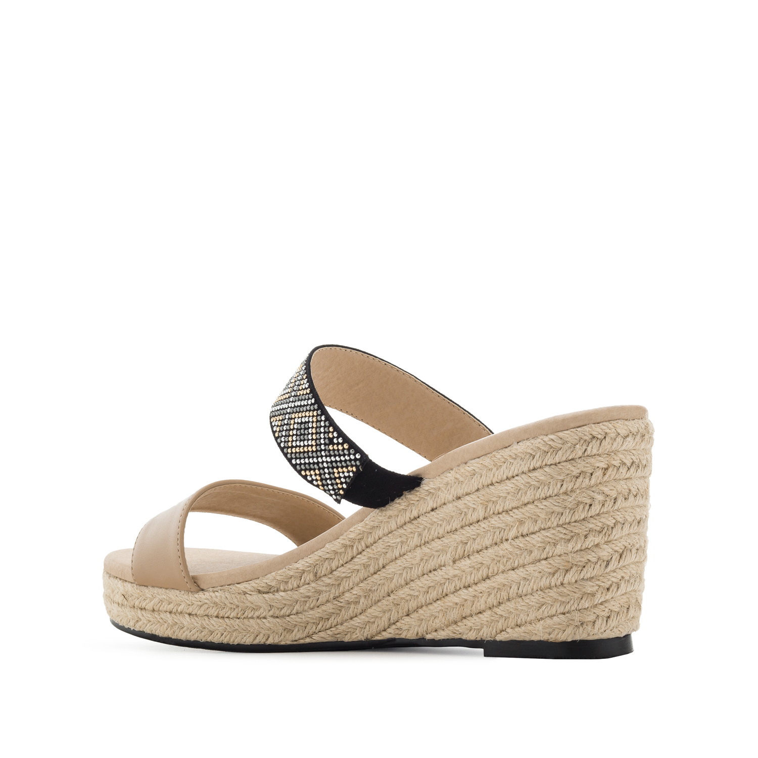 Low-wedges in Cream faux Leather