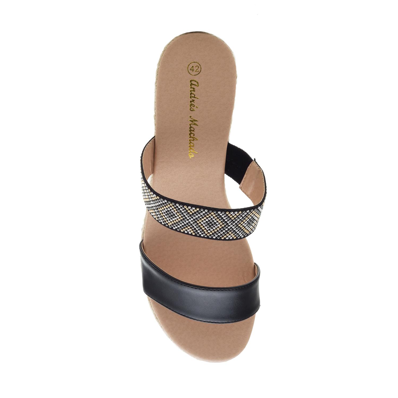 Papuče na platformu od plute, crne