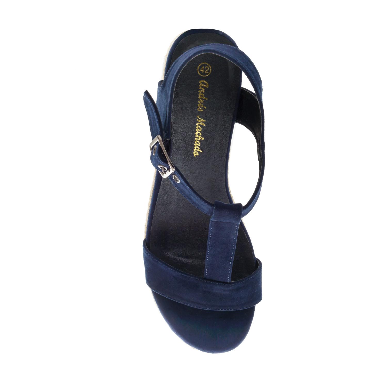 T-Bar-Sandalen aus marineblauem Velourleder mit Keilabsatz