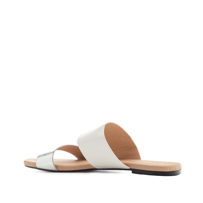 Pantofle široké pásky. Bílá, stříbrná.