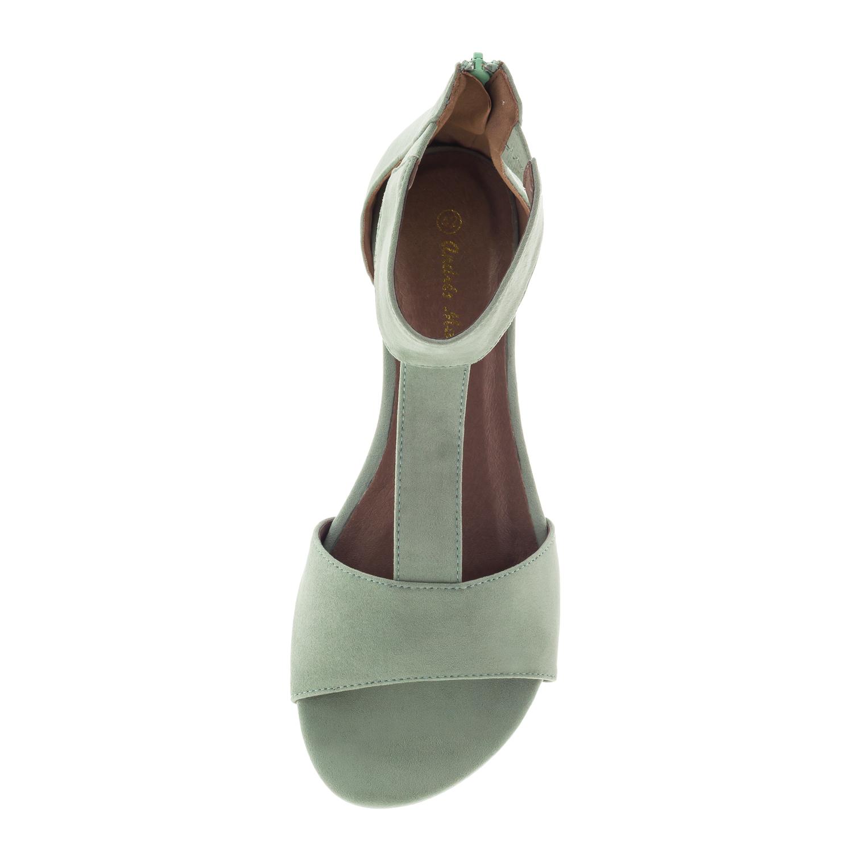 Flache T-Bar Sandalen aus türkisem Velourleder