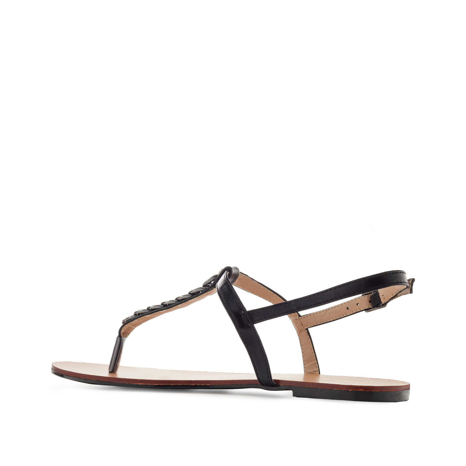 Sandalia T-Bar Brillo Negro
