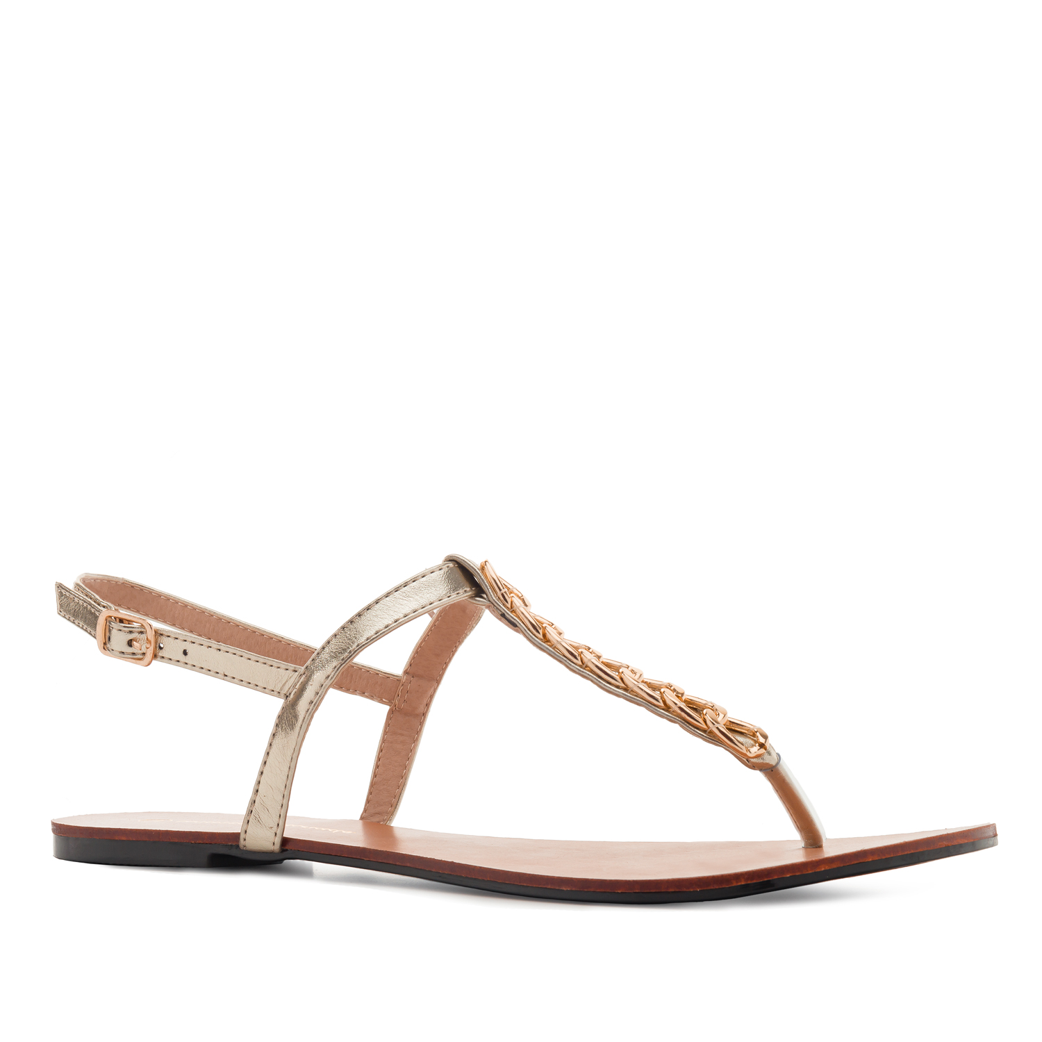 Sandalia T-Bar Brillo Oro