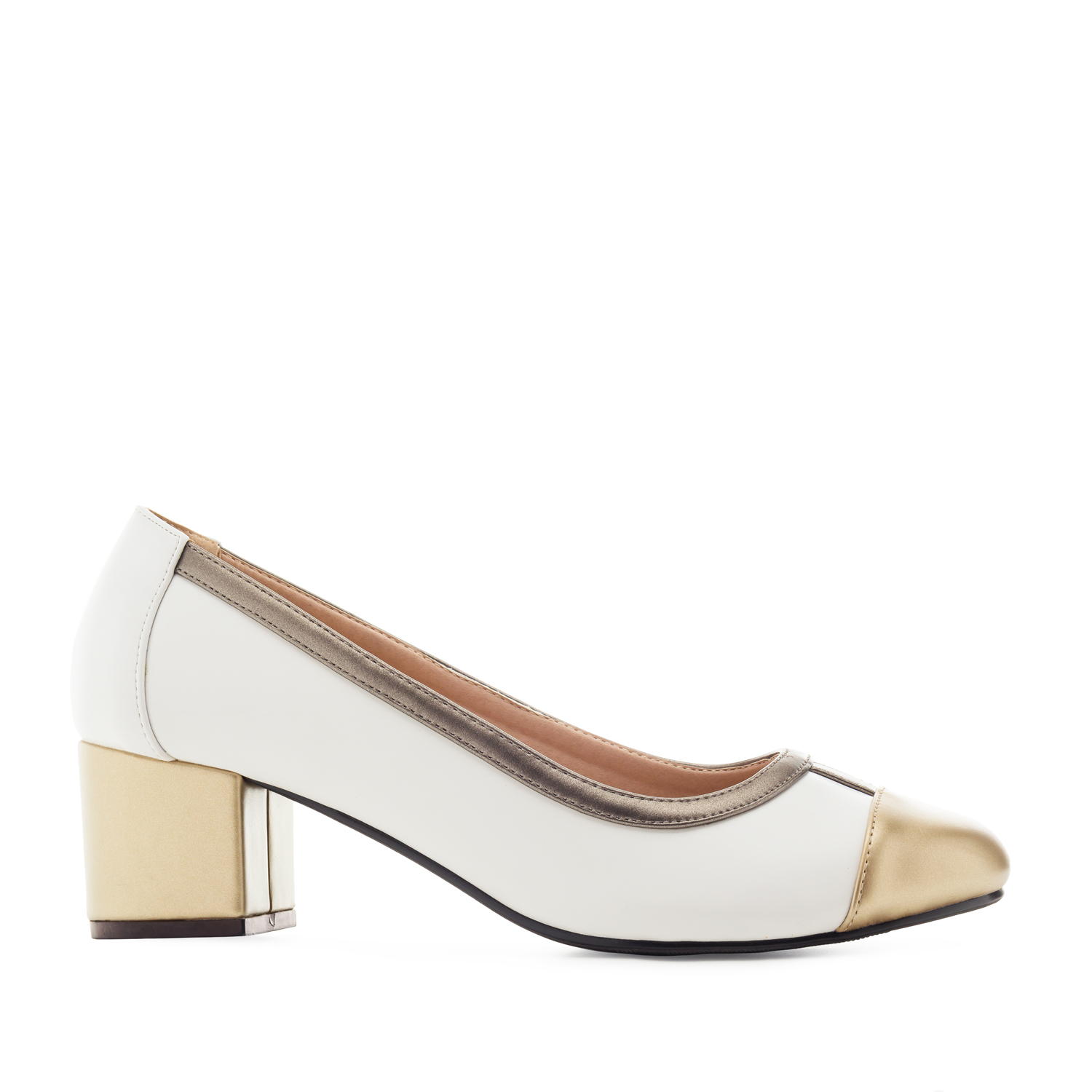 Toe-Cap Heeled Shoes in White faux Leather