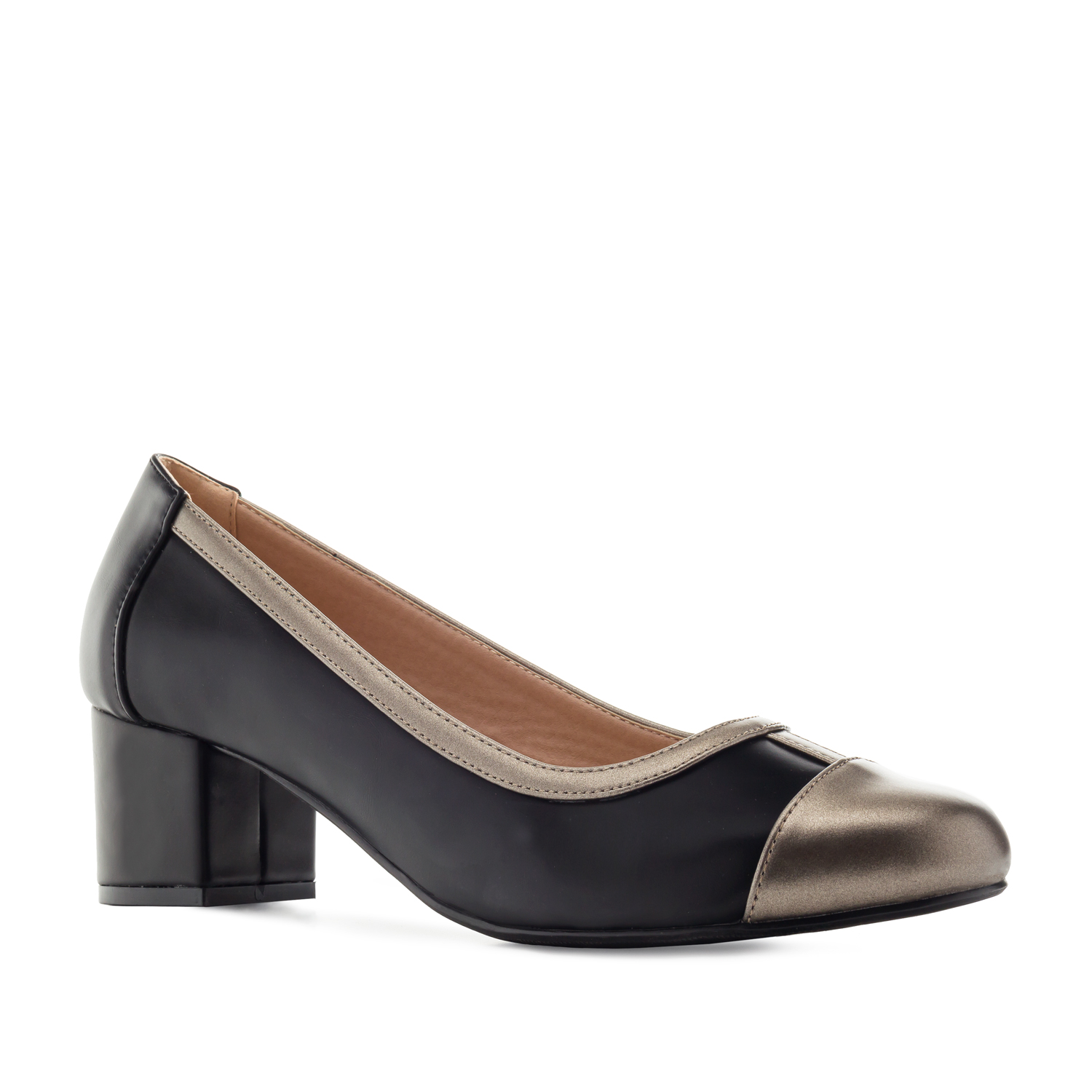 Toe-Cap Heeled Shoes in Black faux Leather
