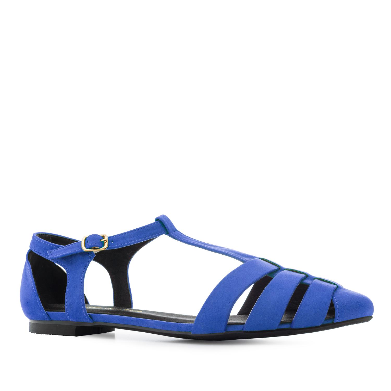 T-Bar Sandalen aus blauem Velourleder