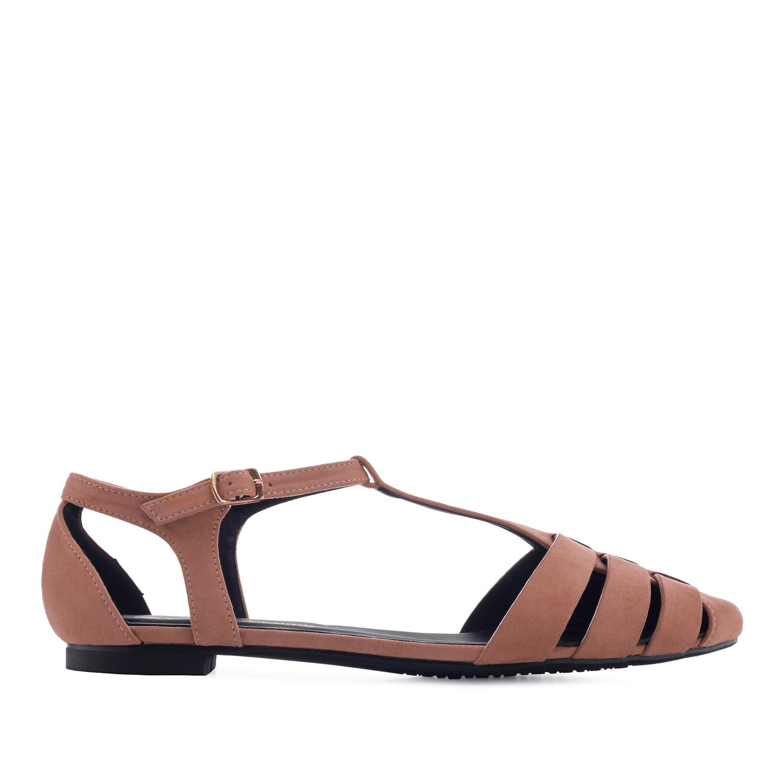 Páskové semišové sandále T-bar. Pudrová.