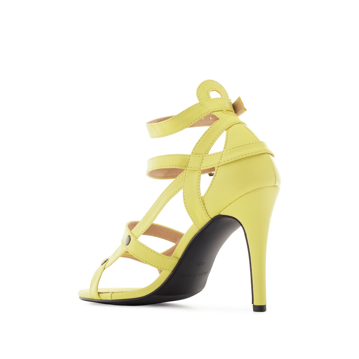 Multi-Strap Yellow faux Leather Sandals