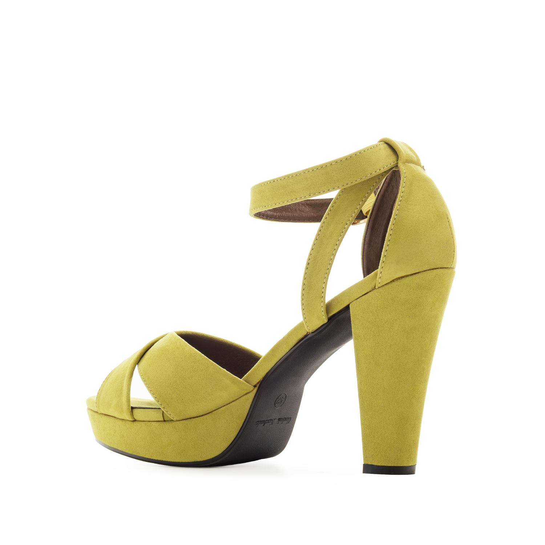 Semišové sandály, vysoký podpatek. Zelená limetková.
