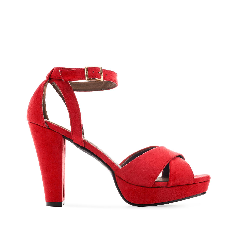 77ba95d6c Semišové sandály, vysoký podpatek. Červené. - JARO/LÉTO 2019, Nové ...