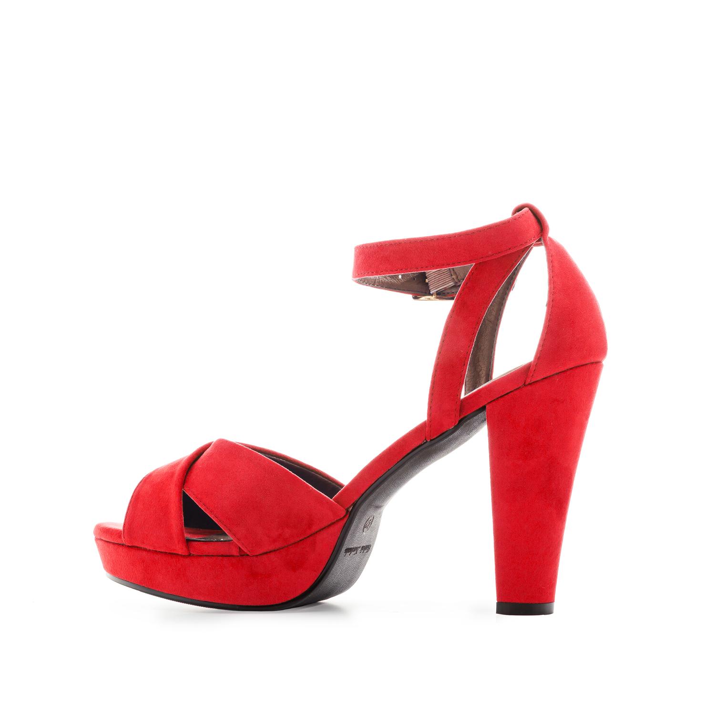 Semišové sandály, vysoký podpatek. Červené.