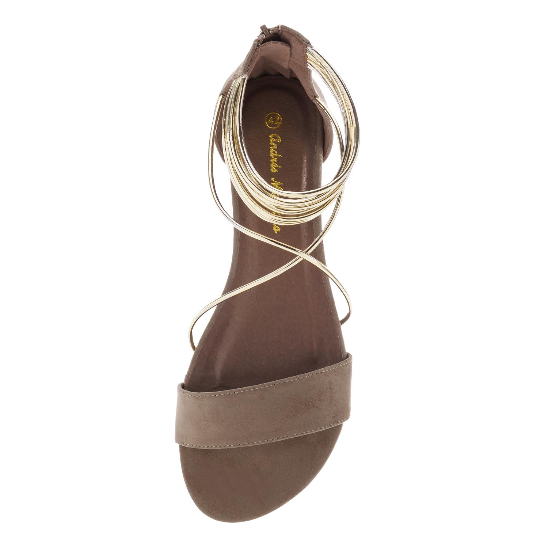 Sandales plates Multi Lanières en Suèdine Marron