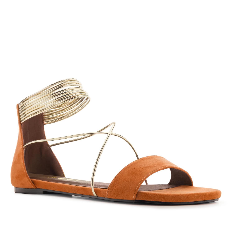 Flache Sandale aus orangem Velourleder