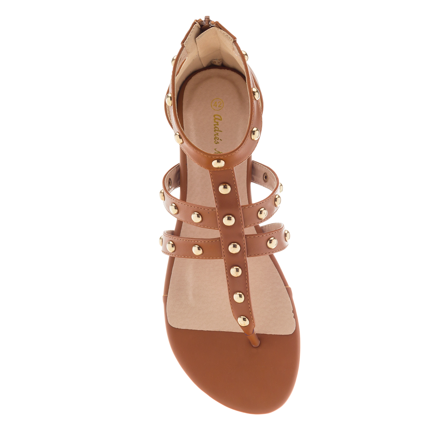 Roman Sandals in Brown faux Leather