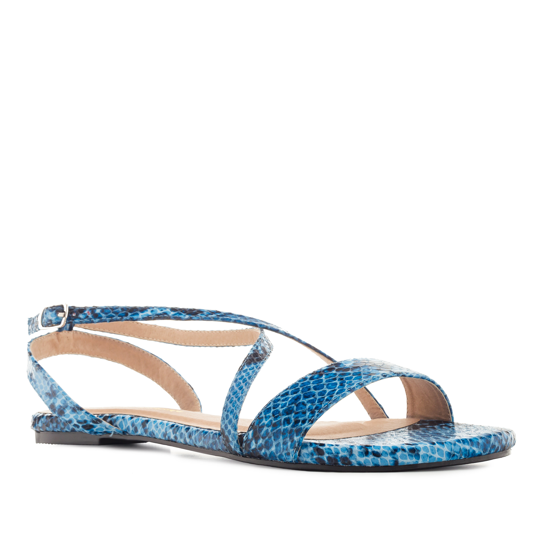Sandalia Plana Serpiente Azul