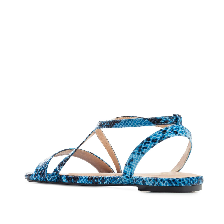 Ravne sandale sa zmijskim dezenom, plave