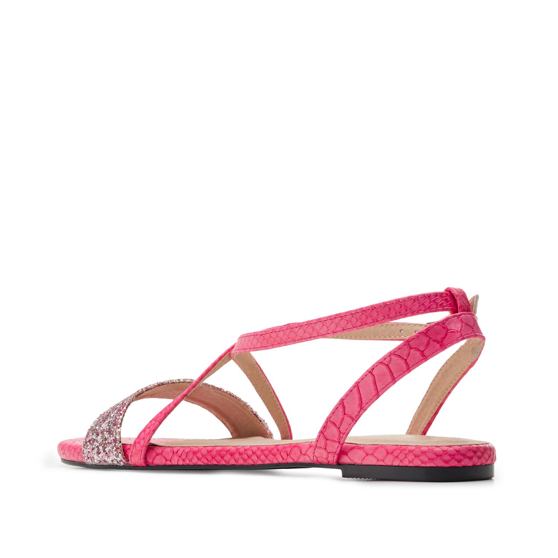 Fuksiat käärmeprintti sandaalit.