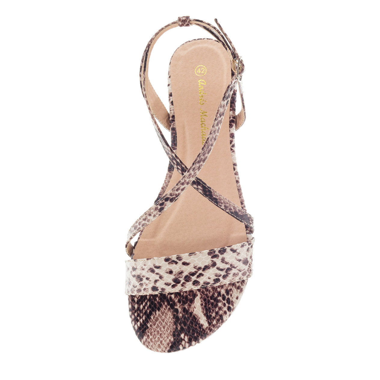 Ruskeat käärmeprintti sandaalit.