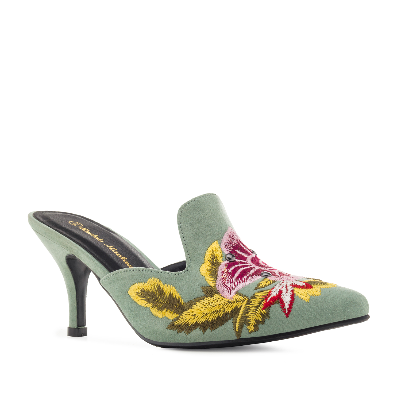 Antilop Mule papuče sa cvetnim detaljima, mint zelene