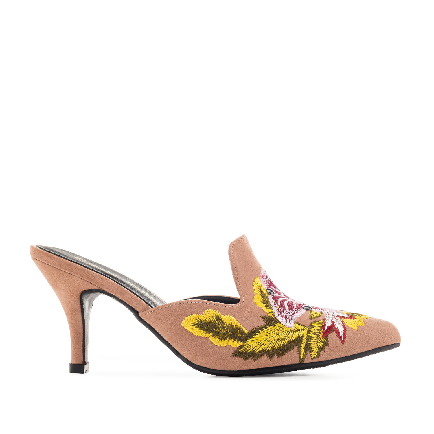 Embroidered Mules in Salmon-coloured Suede