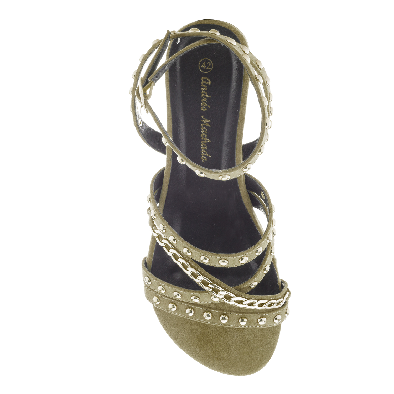 Páskové semišové sandále s cvočky. Zelená olivová.
