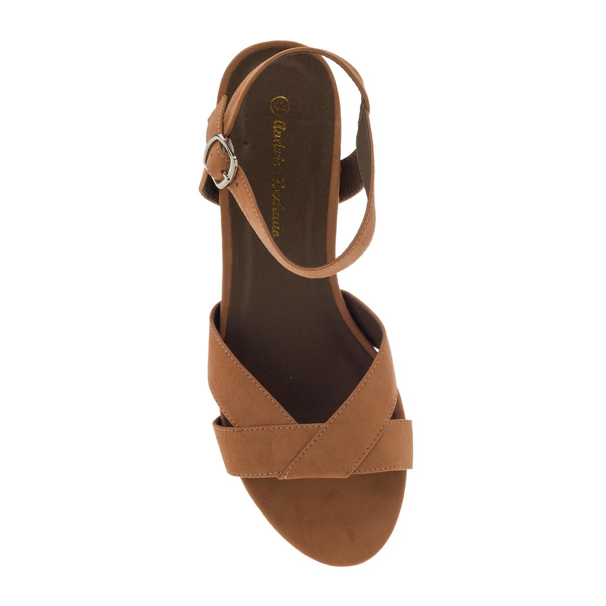 Antilop sandale sa širokom štiklom, braon
