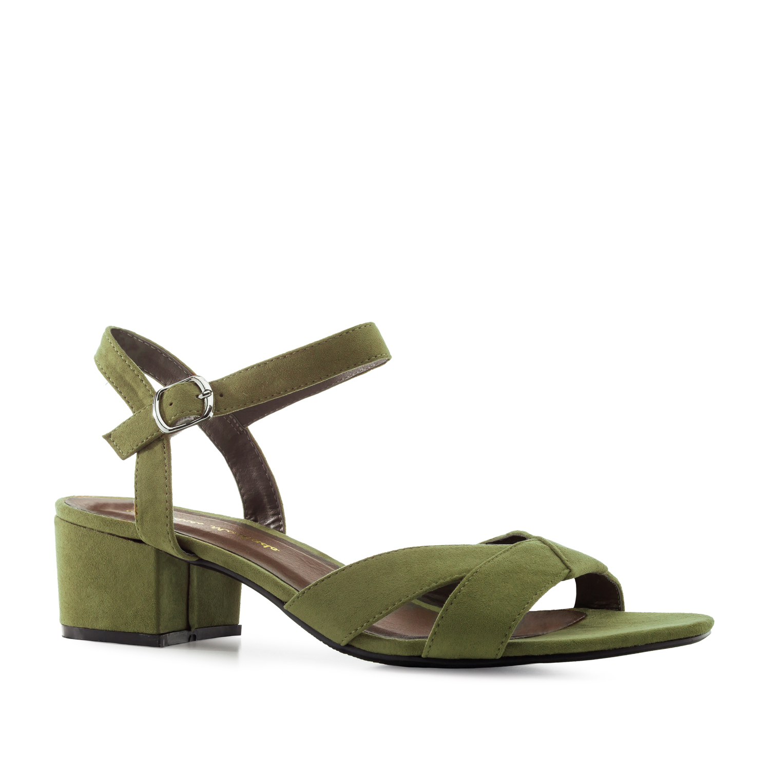Low-Heeled Sandals in Olive-Green Suede