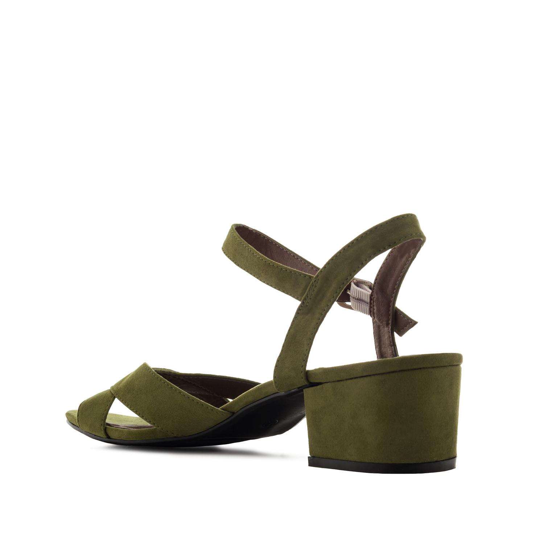 Sandalen aus olivem Velourleder