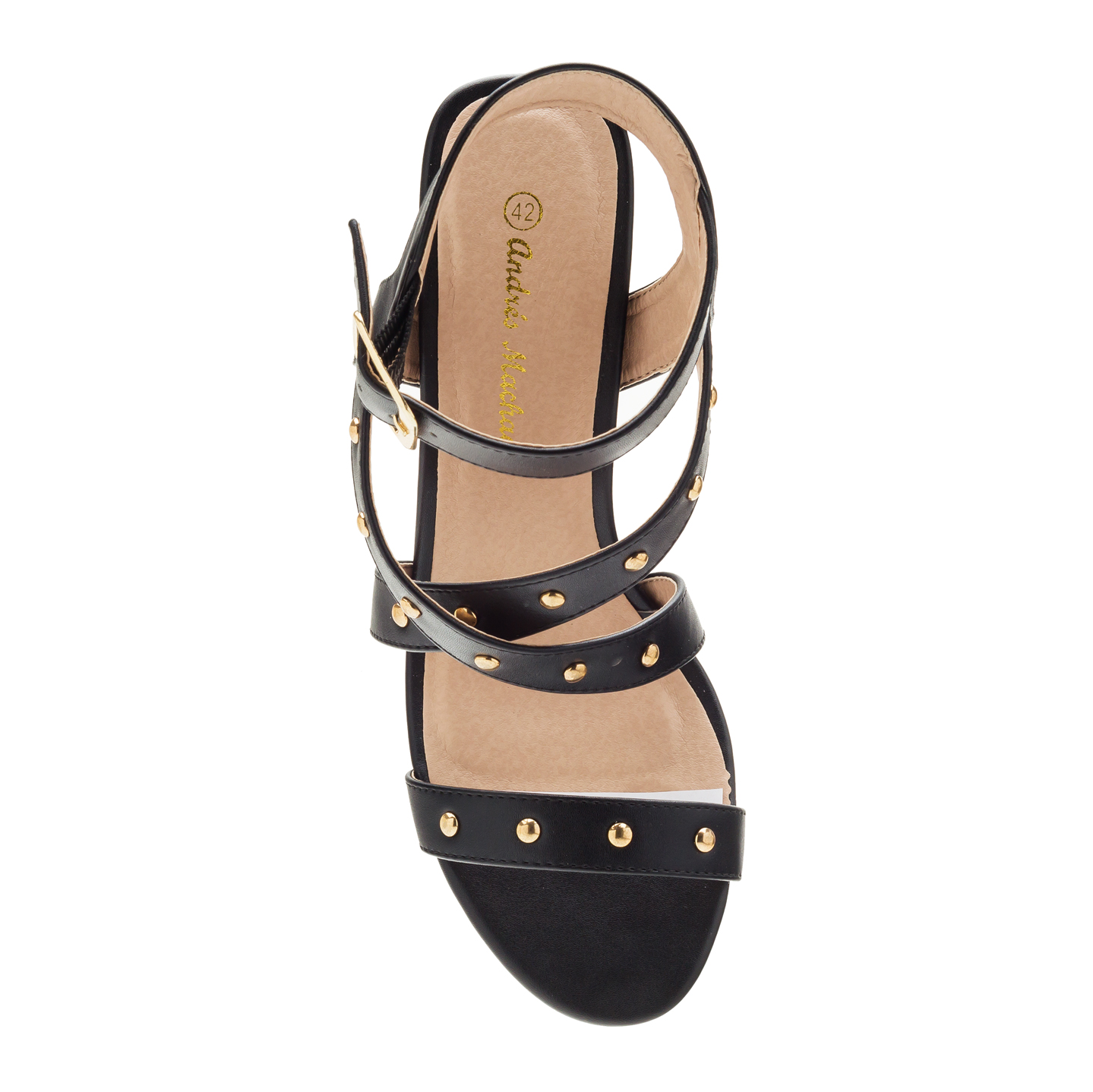 Tack Sandals in Black faux Leather
