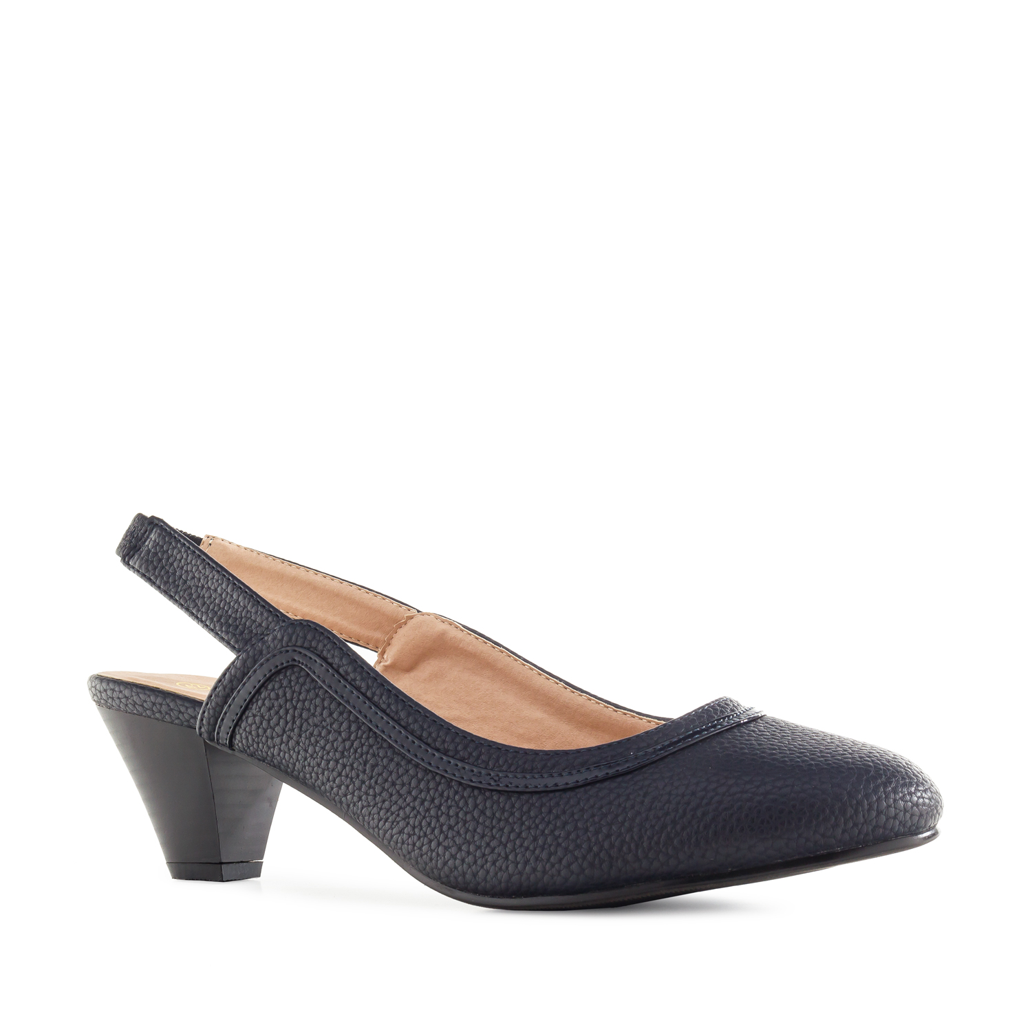 Slingback Shoes in Engraved Navy