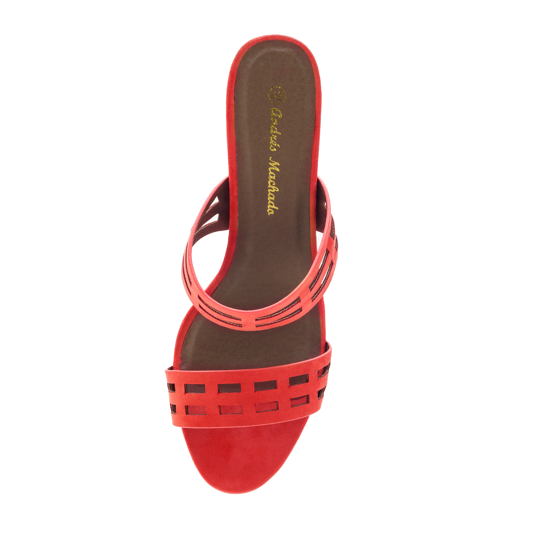 Sandalias Ante Rojo