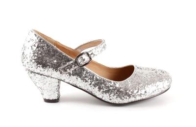 Salon Merceditas en Glitter Plata para Niñas con Tacon Ancho.